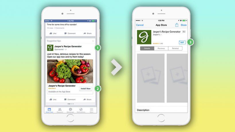 Keine Unbekannten: App Install Ads bei Facbook. © Facebook, Montage: J. Steinschaden