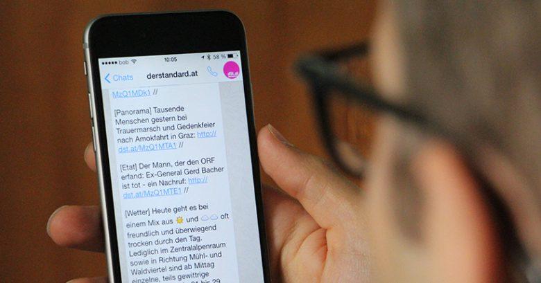 derstandard.at versorgt seine WhatsApp-Abonnenten täglich mit kurzen News. © Jakob Steinschaden