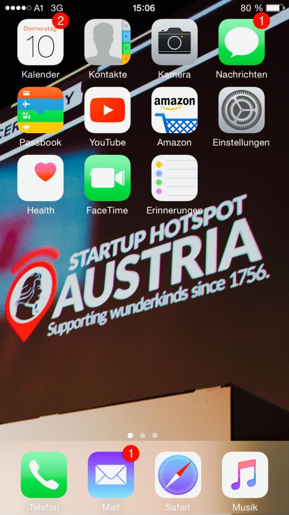 Der Homescreen von Mahrers iPhone.