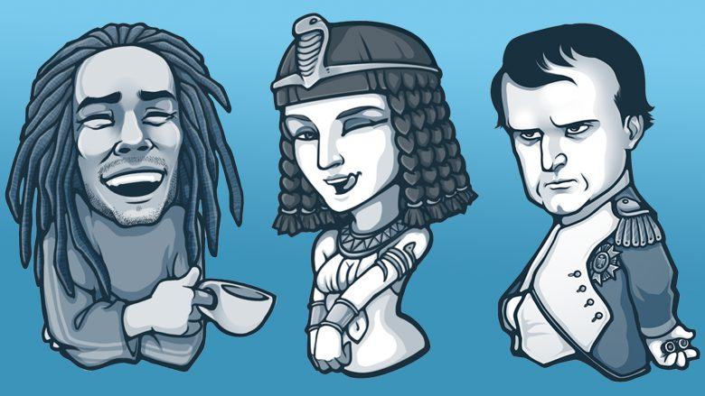 Statt Emoticons versendet man auf Telegram historische Persönlichkeiten.