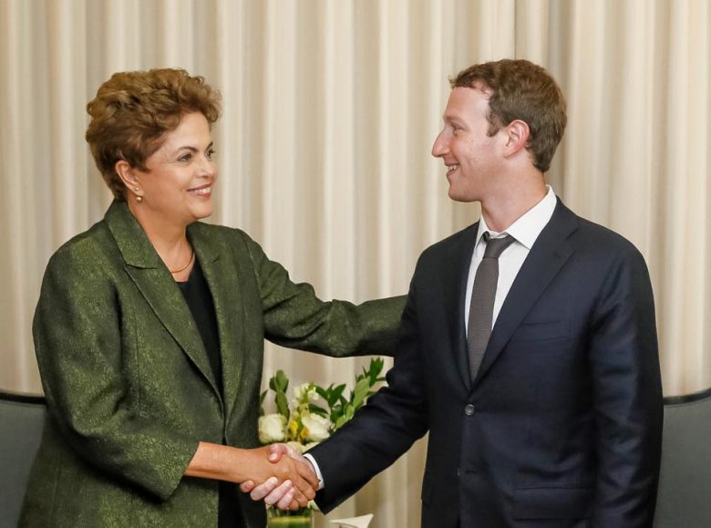 Mark Zuckerbrg looking at President Dilma Rousseff of Brazil.