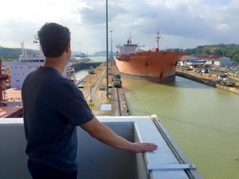 Mark Zuckerberg looking at the Panama Canal.