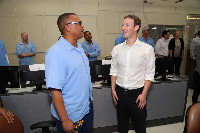 Mark Zuckerberg looking at a prisoner in San Quentin, USA.