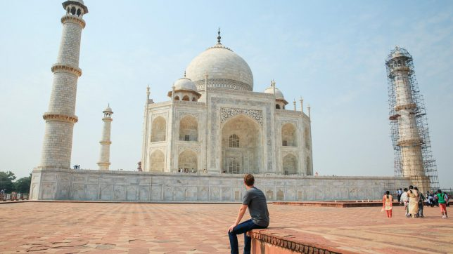 Mark Zuckerberg looking at the Taj Mahal in India. © Facebook