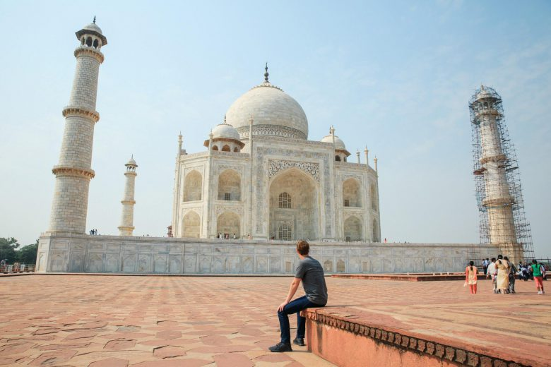 Mark Zuckerberg looking at the Taj Mahal in India.