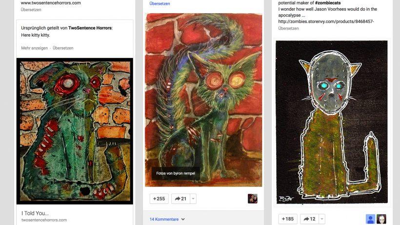 Wertvolle Sammlung: Google+-Nutzer posten Bilder von Zombie-Katzen.