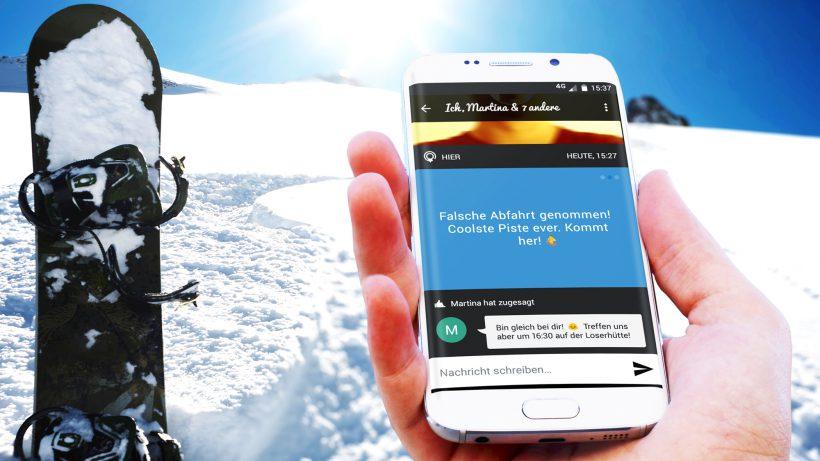 Lokalisierung auf der Piste mittels Android-App. © Mapple.me