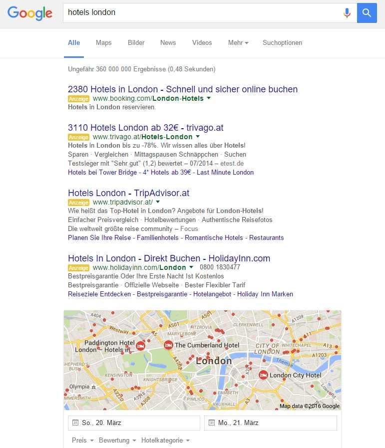 """Der Extremfall """"hotels london"""" zeigt das Verschwinden von SEO below the fold."""