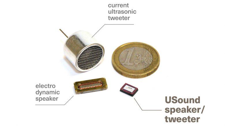 Der USound-Lautsprecher im Größenvergleich. © USound