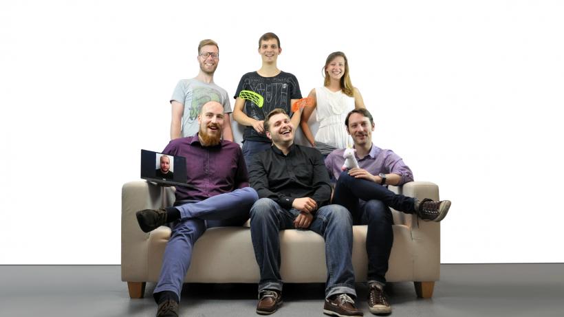 Das Team: Christoph Bitzner, Adrian Zettl-Singh und Jakob Reiter (vorne v.l.n.r.) sowie Bernhard Schaffer, Stefan Wüst und Valentina Gredler (hinten v.l.n.r.) © The Ventury