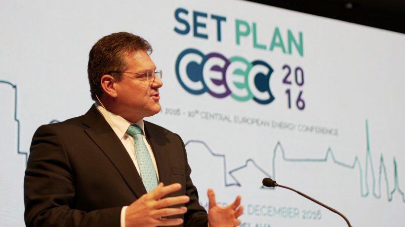 EU Energie-Kommissar Maroš Šefčovič stellt das Winterpaket und die Energiestrategie der Europäischen Kommission vor © SET Plan Conference 2016