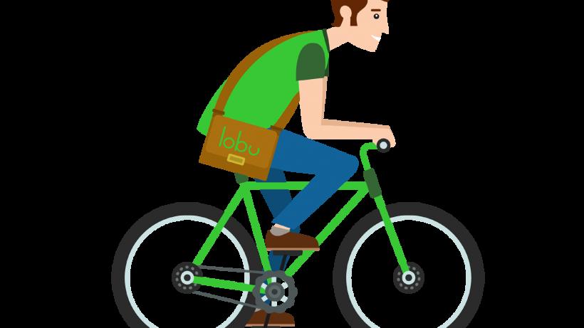 Symbolbild Lobu-Fahrradbote, der Bücher zustellt.