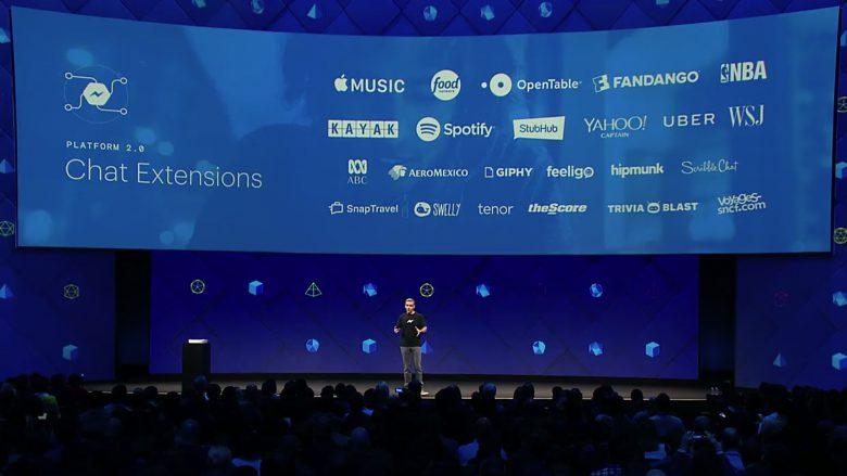 Messenger-Chef David Marcus präsentiert auf der f8. © Facebook