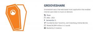 Von Grooveshark bis 99dresses - viele alte Bekannte auf dem Friedhof. © startupgraveyard.io