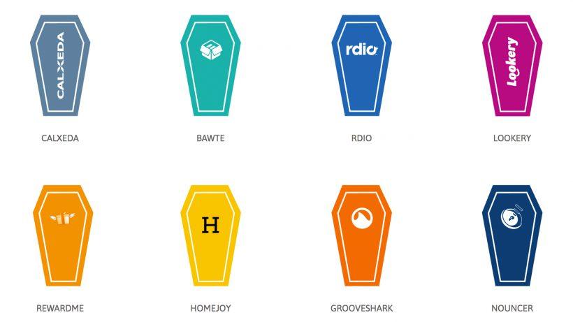 Sie alle haben das Zeitliche gesegnet. © startupgraveyard.io