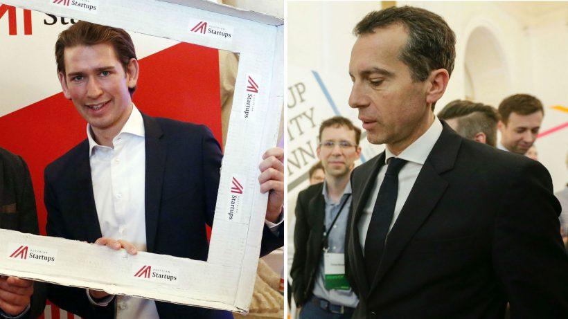 Sebastian Kurz und Christian Kern bei ihren Besuchen des Pioneers Festivals. @ Österreichisches Außenministerium/SPÖ Presse