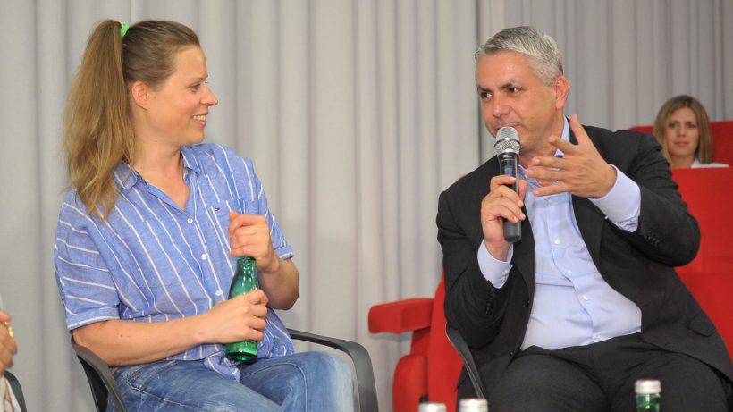 Shpock-Mitgründerin Katharina Klausberger und Erste-Bank-Vorstand Peter Bosek. © Microsoft Österreich