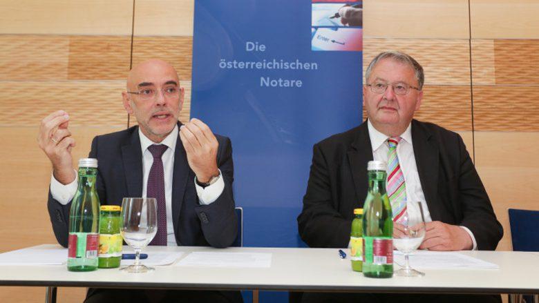 Michael Umfahrer, Präsident der Notariatsakademie, und Ludwig Bittner, Präsident der Österreichischen Notariatskammer. © Notar.at