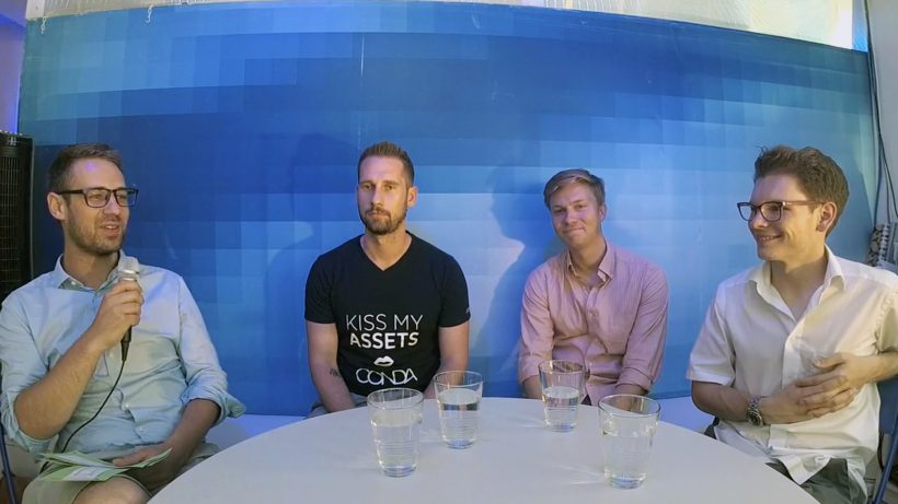 Trending Talks mit Bastian Kellhofer (Trending Topics), Daniel Horak (Conda), Lukas Müller (Rendity) und Wolfgang Deutschmann (Green Rocket). © Trending Topics
