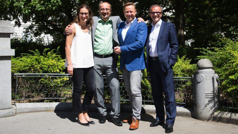 Die Deal-Macher: Estelle Monod (VP Mergers & Acquisitions, Schneider Electric), Horst Mayer (CEO, nxtControl), Herbert Gartner (Managing Director, eQventure) und Arnold Kopitar (Geschäftsführer, nxtControl). © Michael Beck