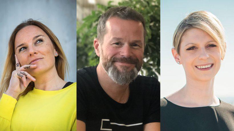 Romy Sigl (CoWorking Salzburg), Bernhard Lehner (startup300) und Stefanie Kurzweil (Semicolon Relations). © Sigl/startup300/Kurzweil/Montage Trending Topics