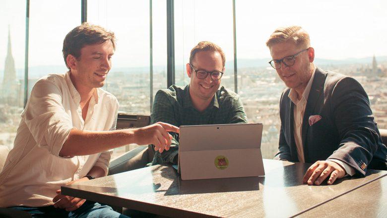 Johannes Braith (CEO), Ferdinand Dietrich (CMO), Christoph Sandraschitz (CTO) von store.me. © store.me