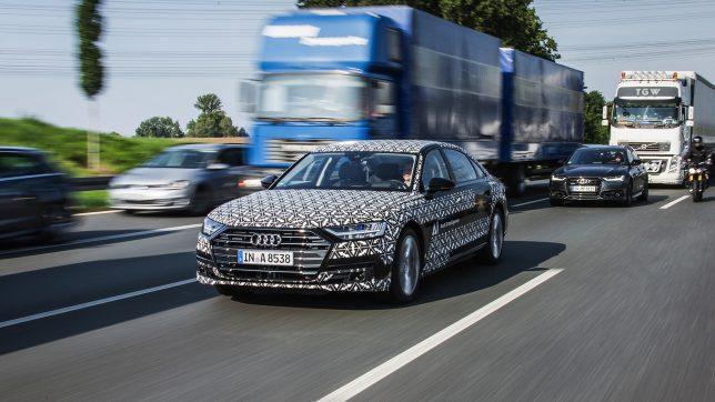 Der Audi A8 in dichtem Verkehr. © Audi AG