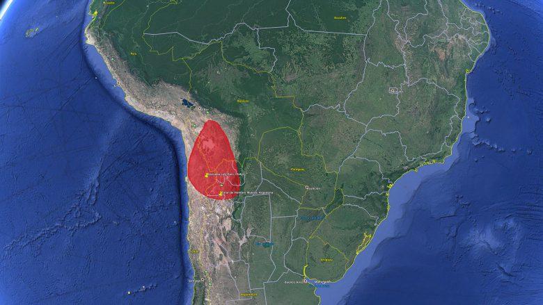 """Das """"Lithium Triangle"""" im Drei-Länder-Eck Chile, Bolivien und Argentinien. © Google Earth"""