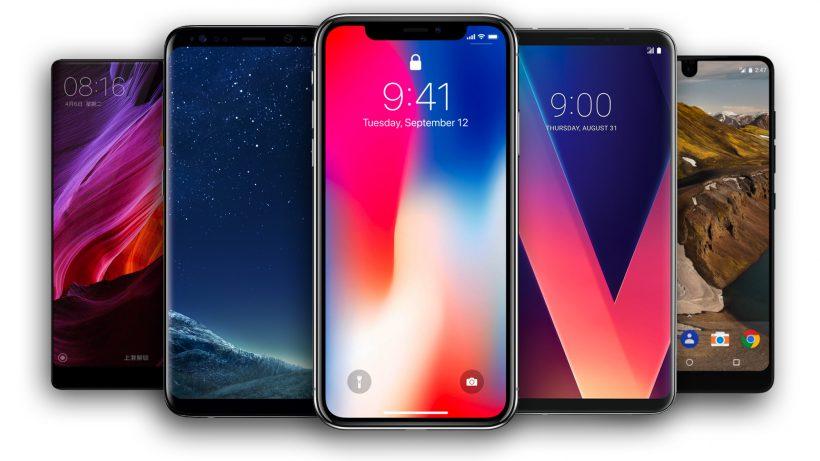 iPhone X, umringt von der Android-Konkurrenz. © Apple, Samsung, LG, Google, Essential/Montage Trending Topics