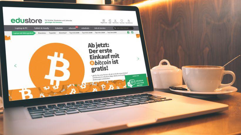Auf www.edustore.at kann ab sofort in Bitcoin bezahlt werden. © edustore