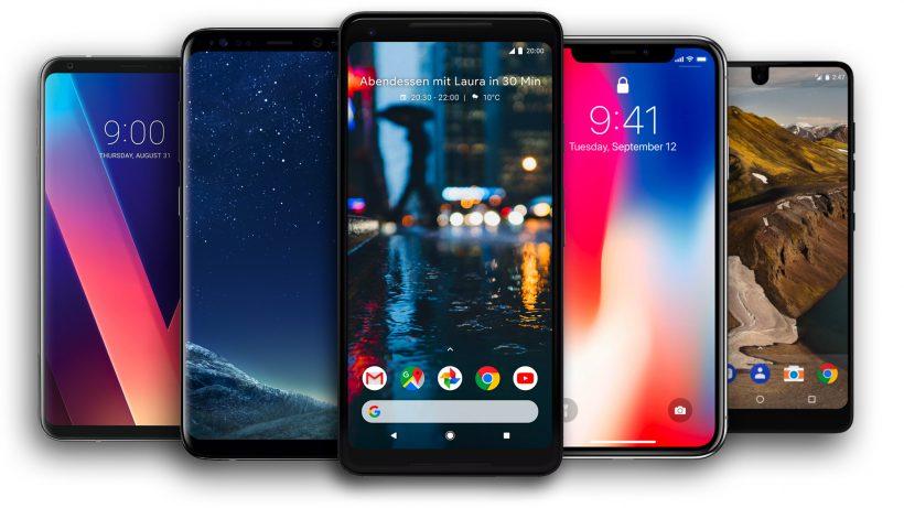 Das Google Pixel 2 und seine Konkurrenz. © Google, Apple, Samsung, LG, Essential, Montage Trending Topics