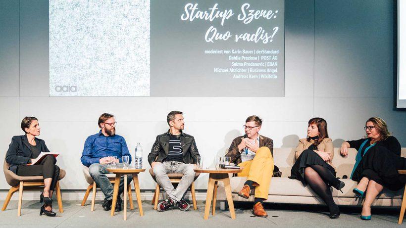 Andreas Kern (Wikifolio), Michael Altrichter, Werner Wutscher, Dahlia Prezosa (Post) und Selma Prodanovic am Podium. © Marcella Ruiz Cruz