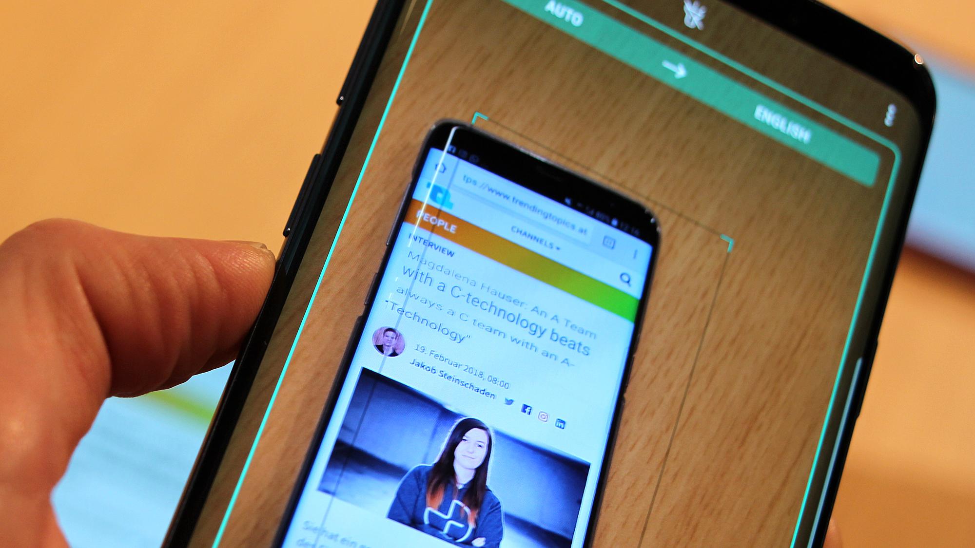 Bixby übersetzt Texte am Samsung Galaxy S9 in Echtzeit. © Trending Topics