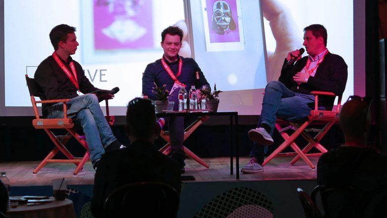 Jakob Steinschaden (Trending Topics), Sergiu Ardelean und Codin Popescu (Artivive) am Panel der SXSW. © Artivive