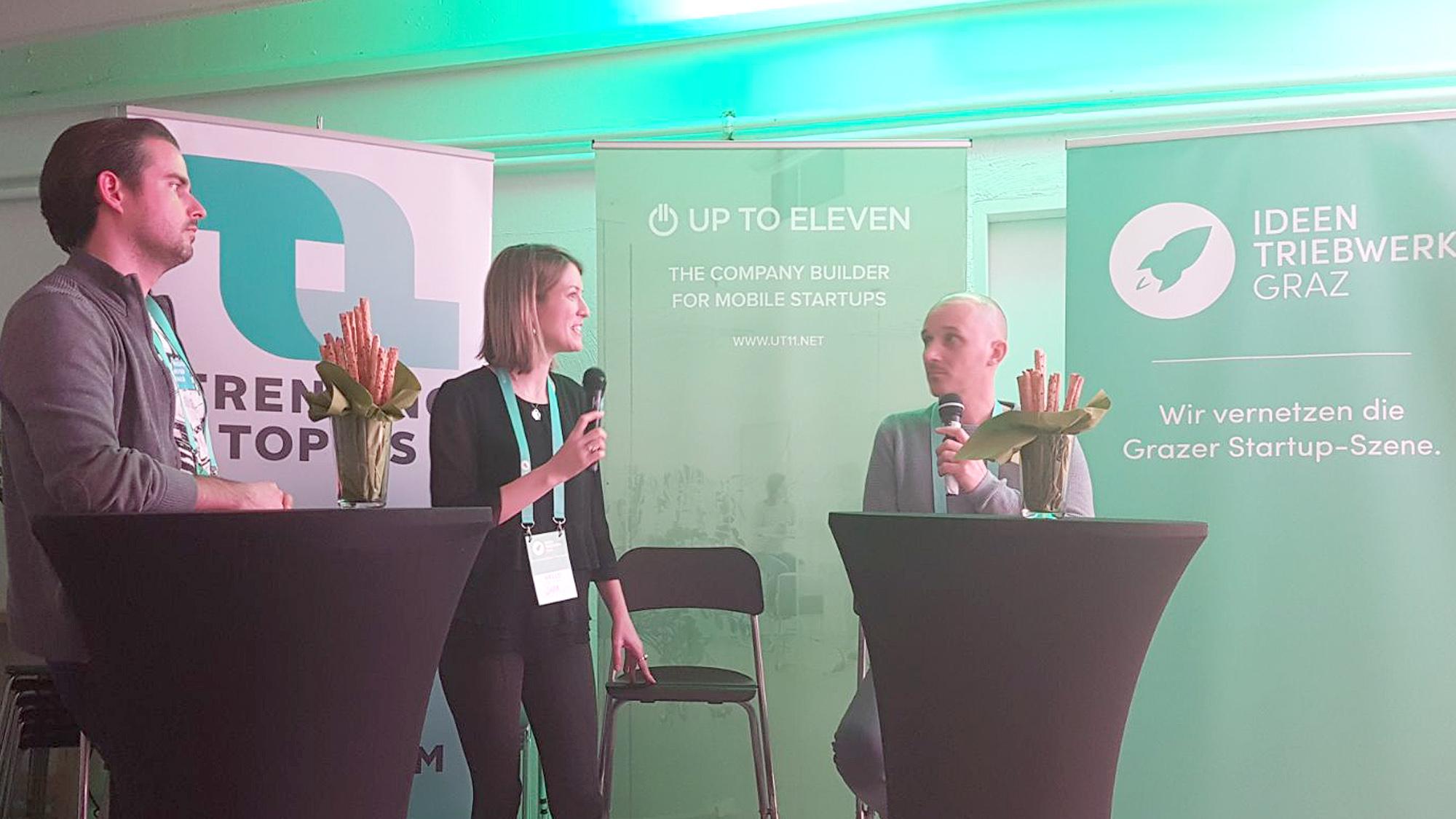 Diskussion mit Matthias Ruhri (Up to Eleven, Sara Grasel (Trending Topics) und Horst Eckstein (BiLLitii). (c) Trending Topics