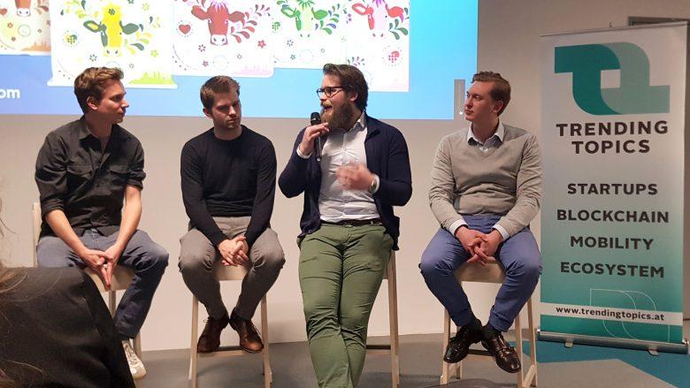TrendingTopics-Founder Jakob Steinschaden und die goUrban-Gründer Bojan Jukic, Michael Lenz und Jonathan Gleixner. © Trending Topics
