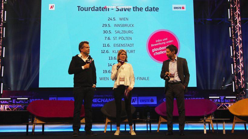 Markus Breitenecker (Puls 4), Sara Grasel (Trending Topics) und Thomas Schaufler (Erste Bank) auf der Bühne des 4Gamechangers Festivals. © Trending Topics