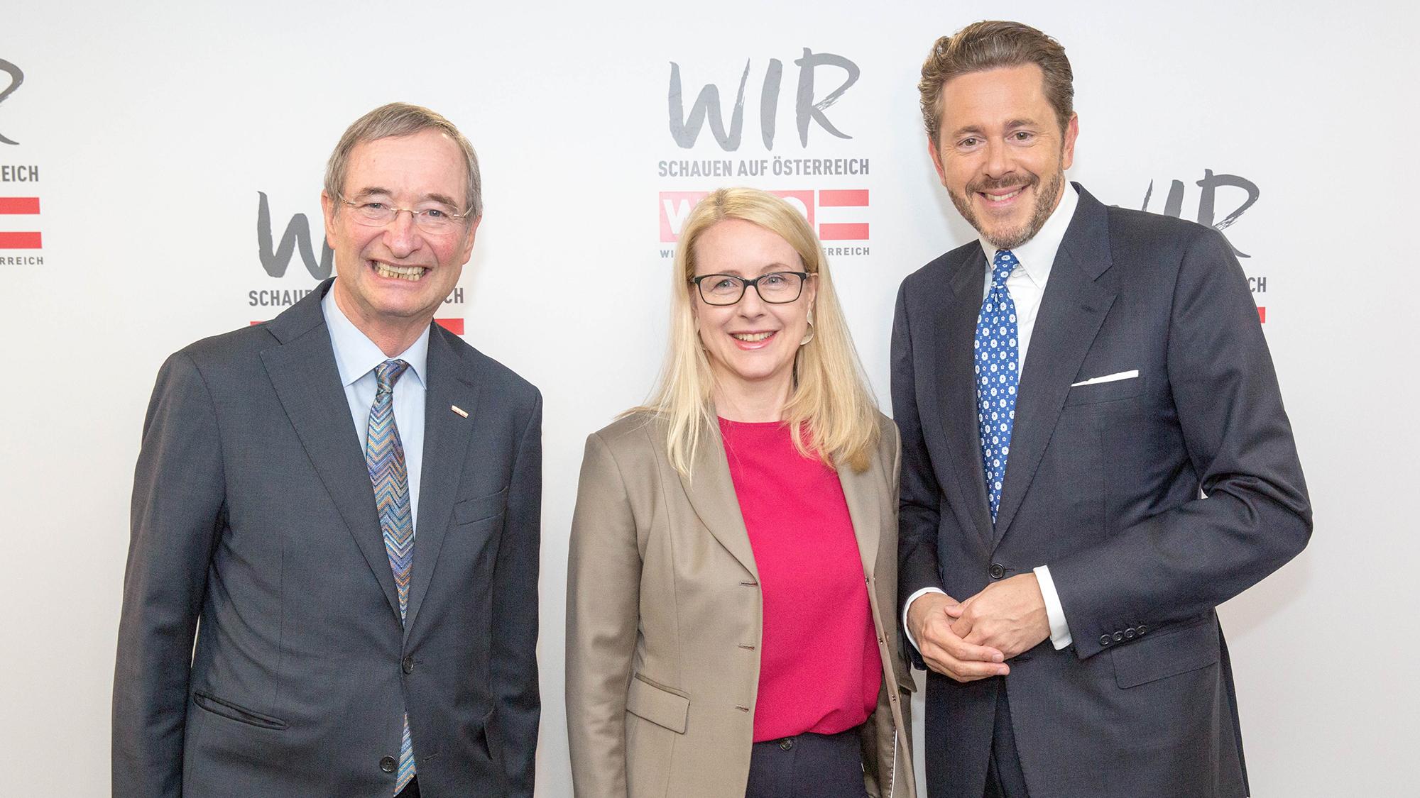 Christoph Leitl, Margarete Schramböck und Harald Mahrer. © photonews.at/Georges Schneider