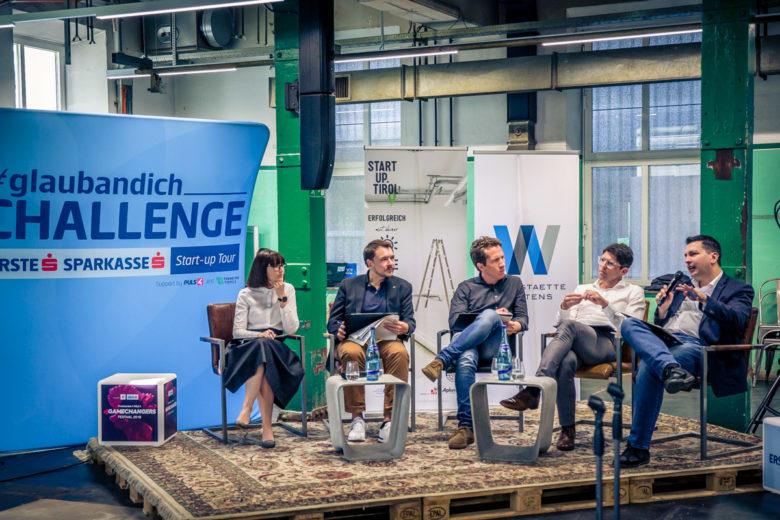 Die Jury: Christina Scholochow(Mohemian Ventures), Clemens Plank (Junge Wirtschaft Tirol), Alexander Koll (Werkstätte Wattens), Christian Leitner, (Tiroler Sparkasse), Marcus Hofer (Startup Tirol). © David Bitzan