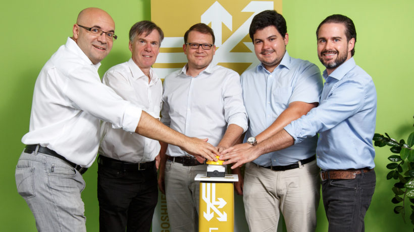 Frank Kappe, Gerhard Pail (jew. KaPa Ventures), Martin Schmidt, Christoph Lalej (Logoshuffle) und Matthias Ruhri (Up to Eleven). © rawpix.at/Stefan Warmuth