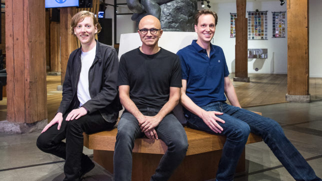 Chris Wanstrath (Github CEO) Satya Nadella (Microsoft CEO) und Nat Friedman (Microsoft corporate vice president, Developer Services). © Microsoft