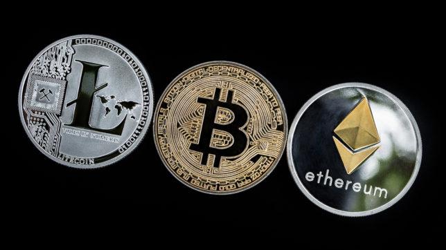 Litecoin, Bitcoin, Ethereum. © Pixabay