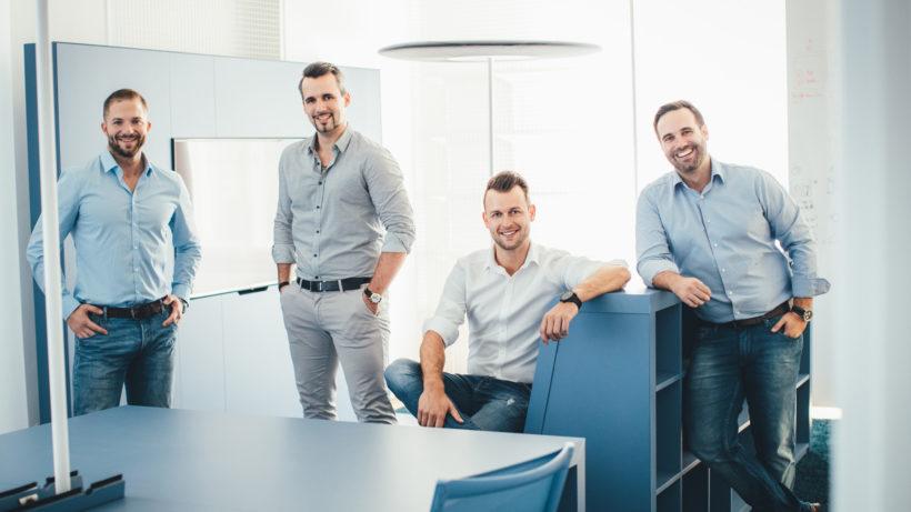Das Führungsteam des 360 Lab: Martin Trink, Head of Accelerator, Felix Uitz, Head of Innovation, Dominik Renner, Head of PMO und Christian Vancea, Managing Director (v.l.n.r.) © 360 Lab/Karl Schrotter photograph