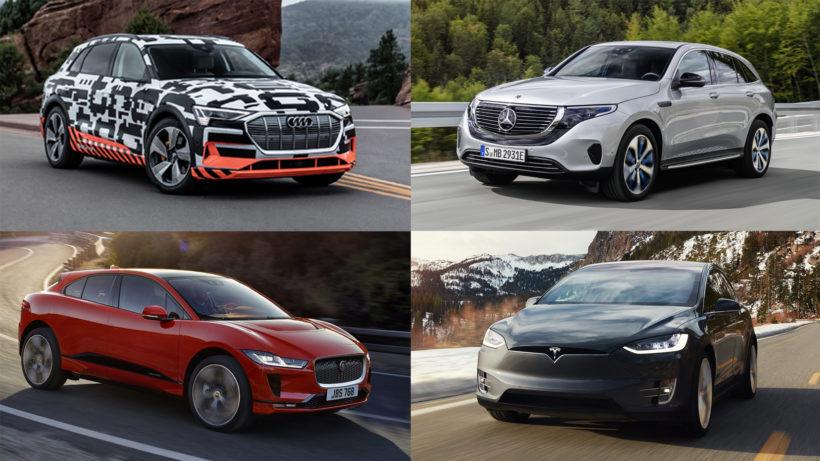 Audi e-tron, Mercedes EQC, Jaguar I-Pace und Tesla Model X. © Audi, Daimler, Jaguar, Tesla / Montage Trending Topics