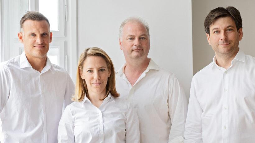 Andrew Bunce (Head of Product), Johanna Konrad (CSO), Peter Bainbridge-Clayton (CTO) und Russell E. Perry (CEO) von kompany. © vyhnalek.com