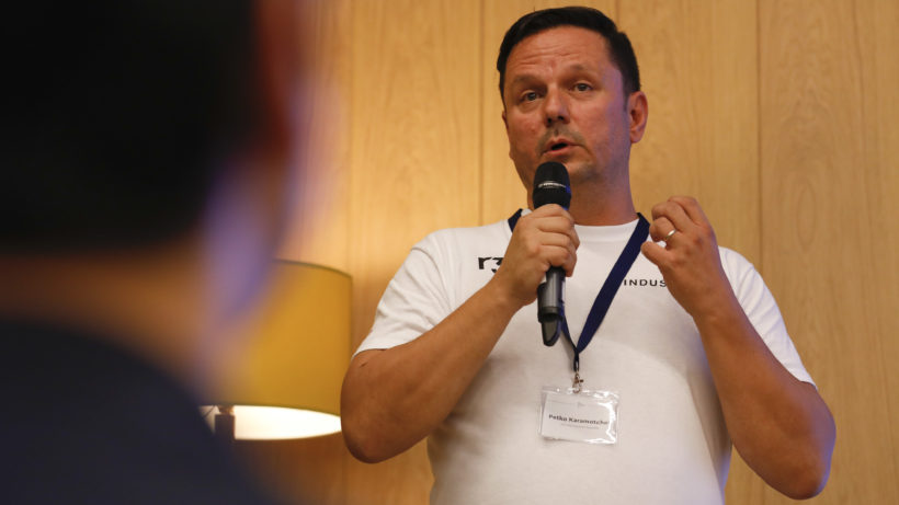Petko Karamotchev, CEO of blockchain company Industria, at Barclays DerivHack2018 at Barclays Rise, London © Luke MacGregor