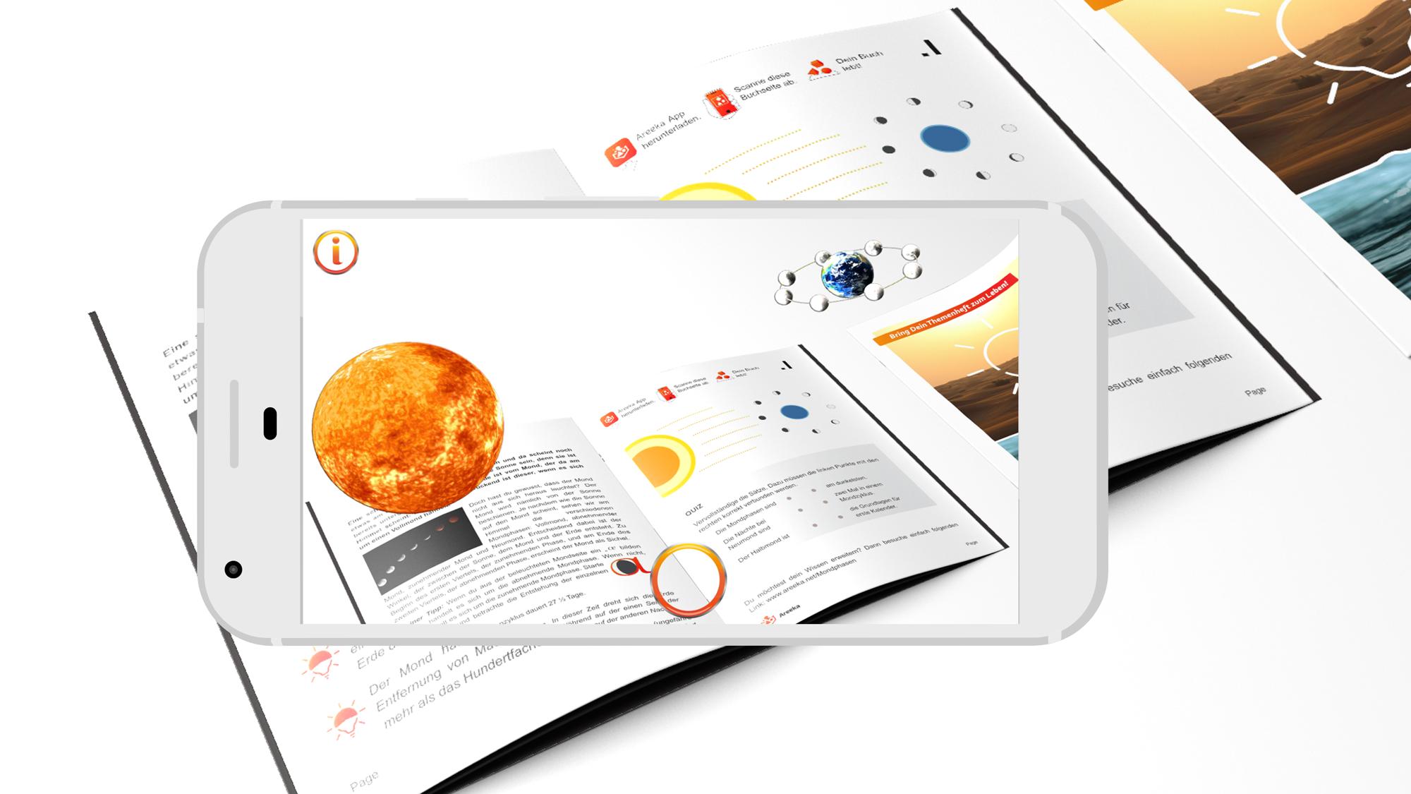 Das Areeka-Themenheft Licht und Wasser zeigt in der App zum Beispiel animierte Planeten. © Amlogy