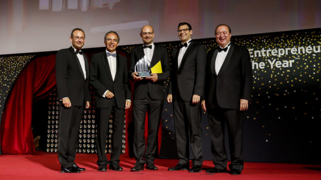 Erich Lehner (Managing Partner Markets EY Österreich), Günter Thumser (Vizepräsident Industriellenvereinigung Wien), Johannes Homa, (Lithoz), Gunther Reimoser (Country Managing Partner EY Österreich), Dieter Waldmann (verantwortlicher Executive Director für den EY Entrepreneur Of The Year in Österreich). © Point of View