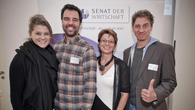 Hannah Lux (Vollpension), Bernhard Hofer (talentify), Walburga Fröhlich (atempo) und Martin Wesian (Helioz) von SENA. © Senat der Wirtschaft / Claudio Farkasch (belichten.com)