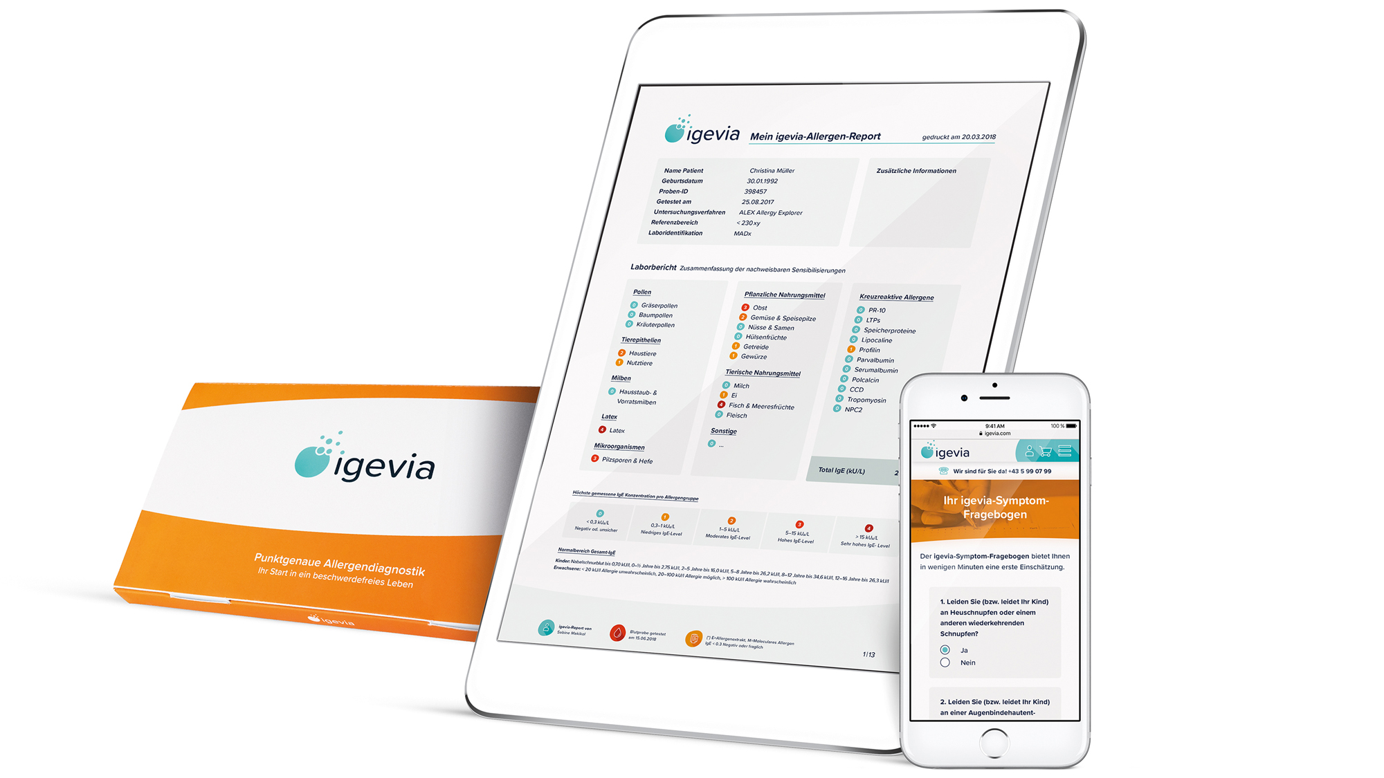 Die Testergebnisse in der App © Igevia